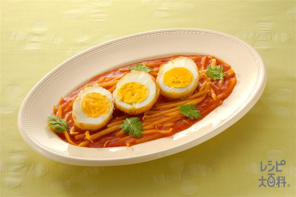 揚げ卵のチリソース(ゆで卵+しょうゆを使ったレシピ)