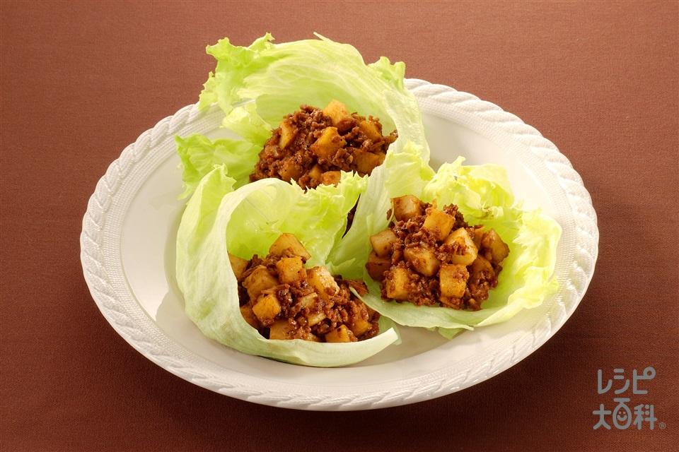 長いもとひき肉の豆チ醤炒め(長いも+レタスを使ったレシピ)