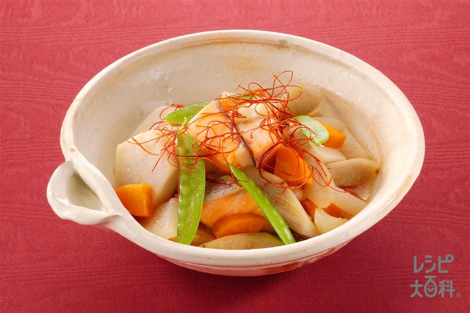 さけと根菜の韓国風煮(生ざけ+里いもを使ったレシピ)