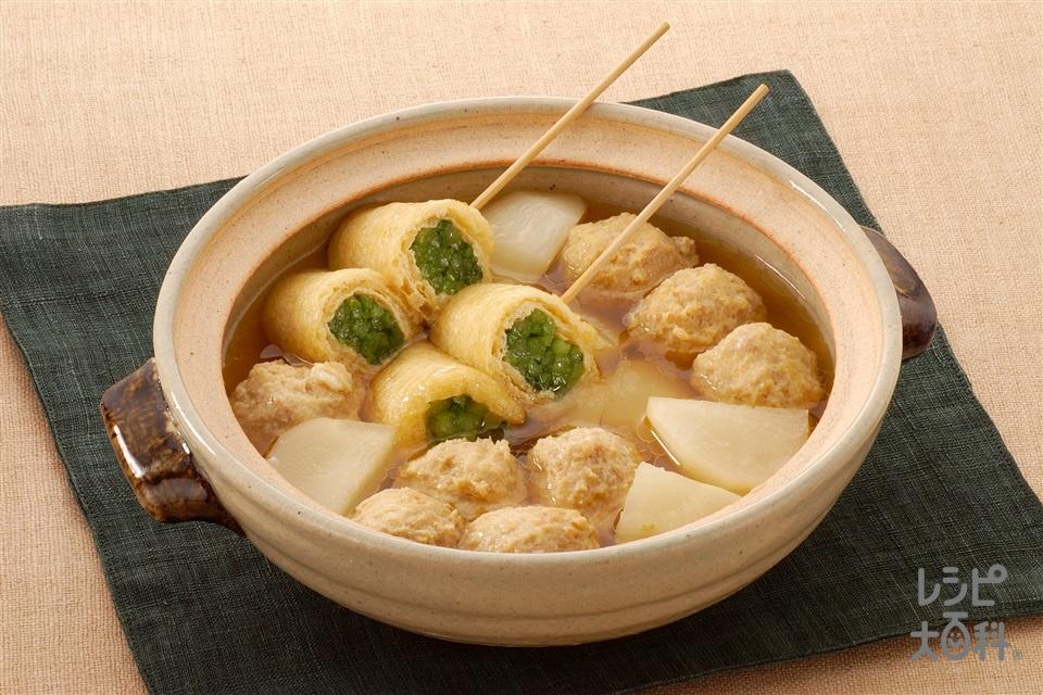 かぶと鶏だんごのおでん風(かぶ+鶏ひき肉を使ったレシピ)