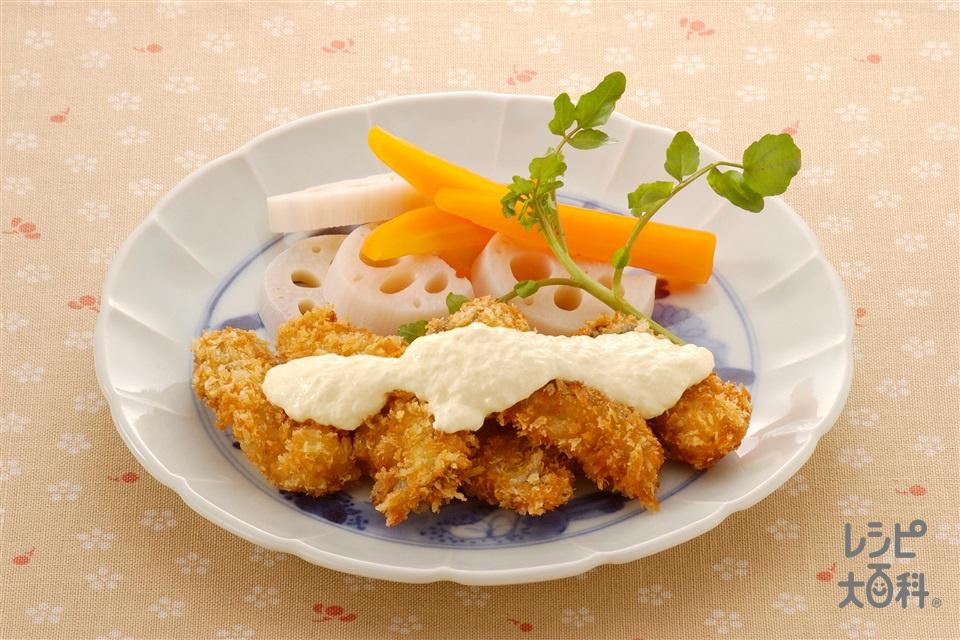 かきフライとゆで野菜のマヨおろし大根かけ(かき(むき身)+大根おろしを使ったレシピ)