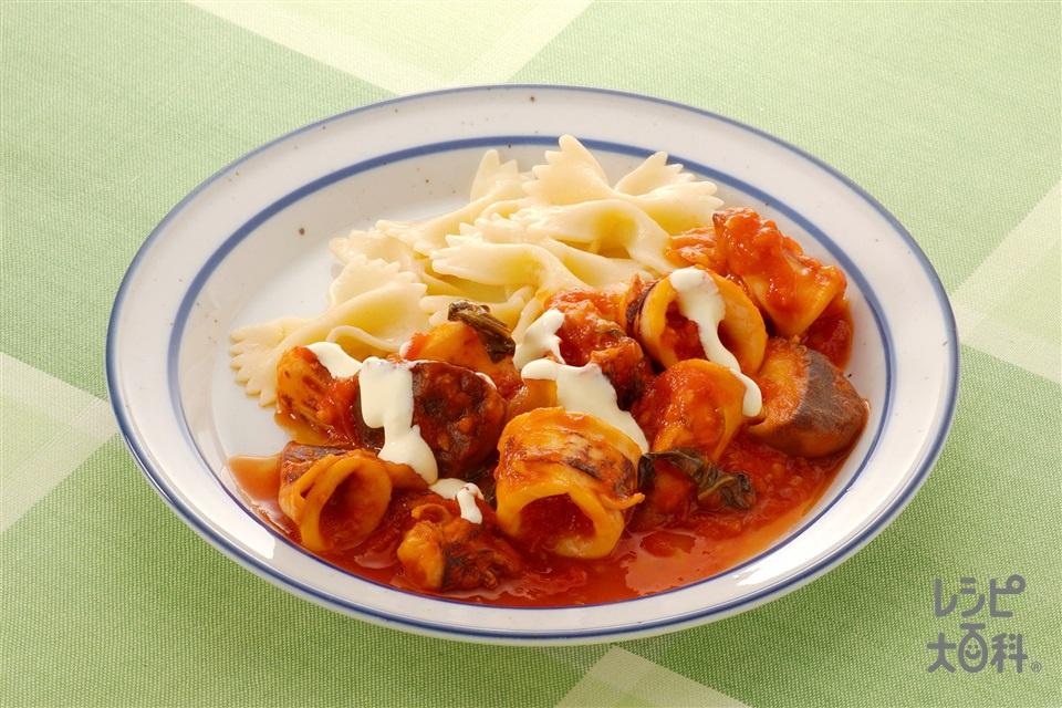 やりいかのトマトソース煮 アイオリソースかけ(やりいか+ホールトマト缶を使ったレシピ)