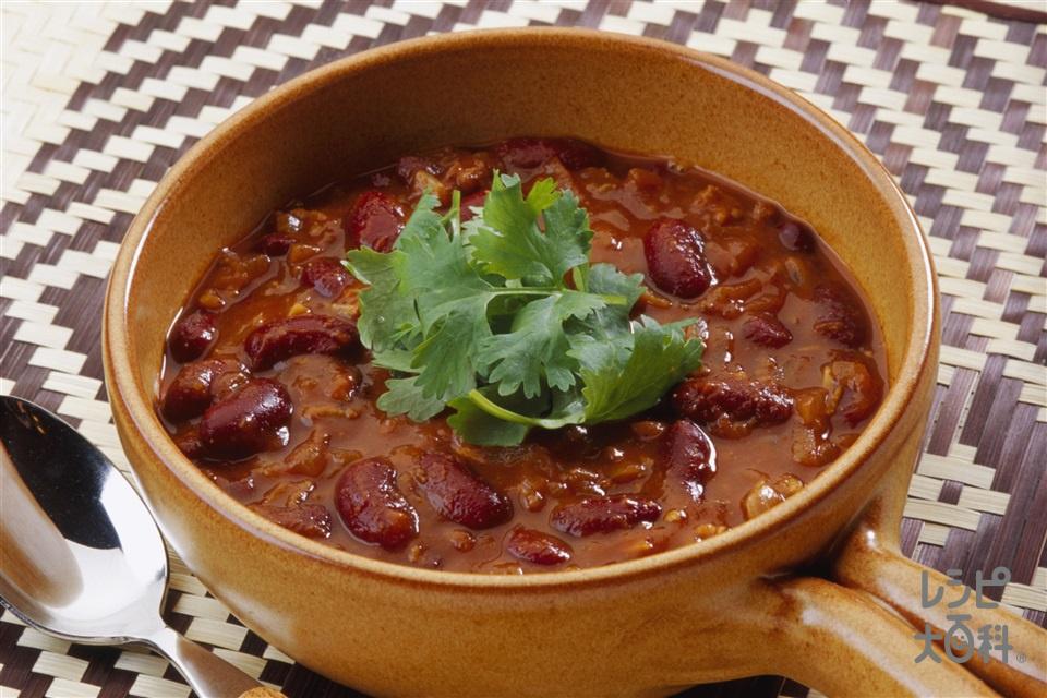 クイックチリコンカン(金時豆(ゆで)+トマトジュース(無塩)を使ったレシピ)