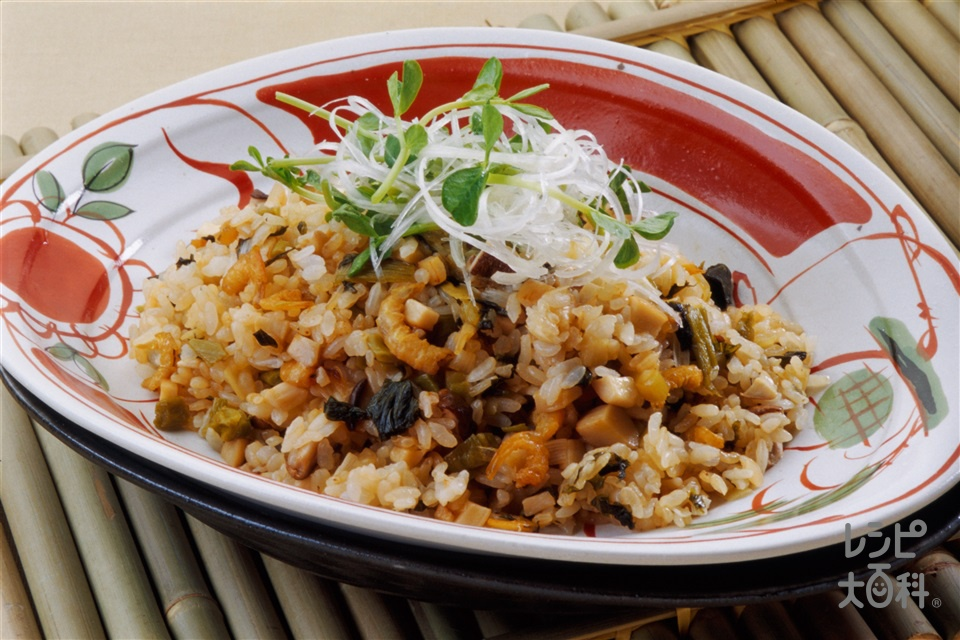 高菜と干しえびのチャーハン(ご飯+エリンギを使ったレシピ)