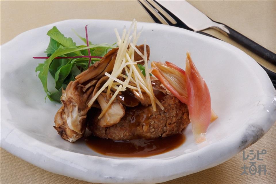 オーブントースターハンバーガー きのこソースかけ(牛ひき肉+A片栗粉を使ったレシピ)