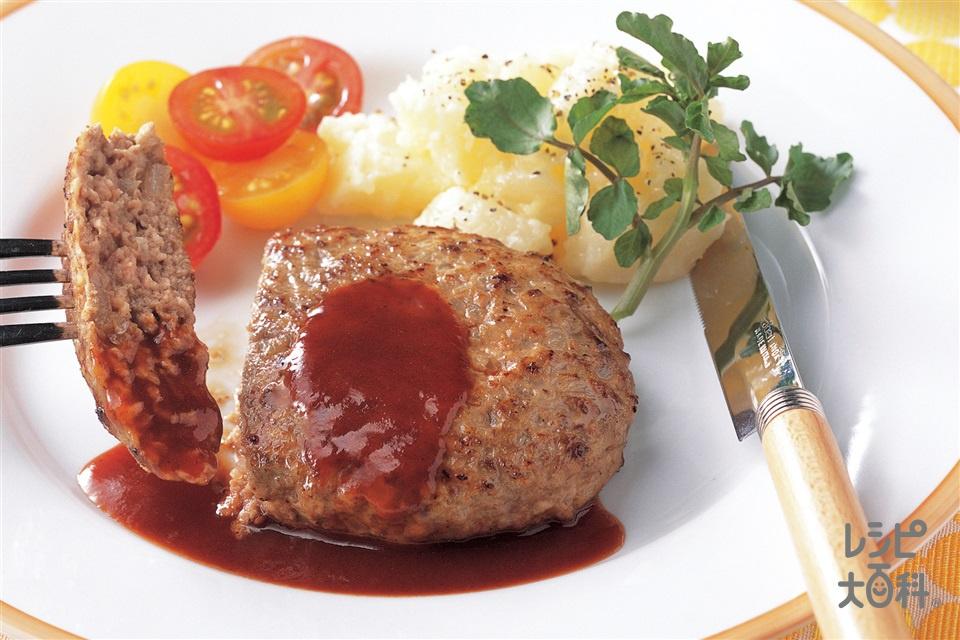 ハンバーグステーキ(合いびき肉+じゃがいもを使ったレシピ)