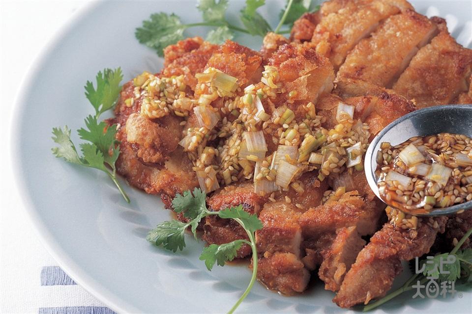 鶏ももから揚げの香味ソース(鶏もも肉+片栗粉を使ったレシピ)