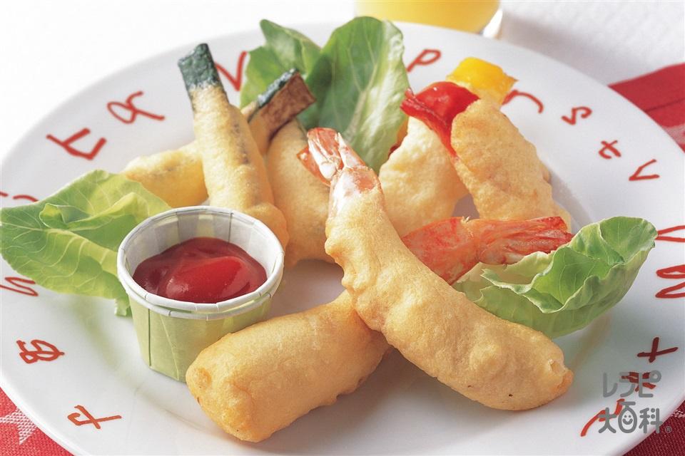 えびと野菜のフワフワフライ(えび+ズッキーニを使ったレシピ)