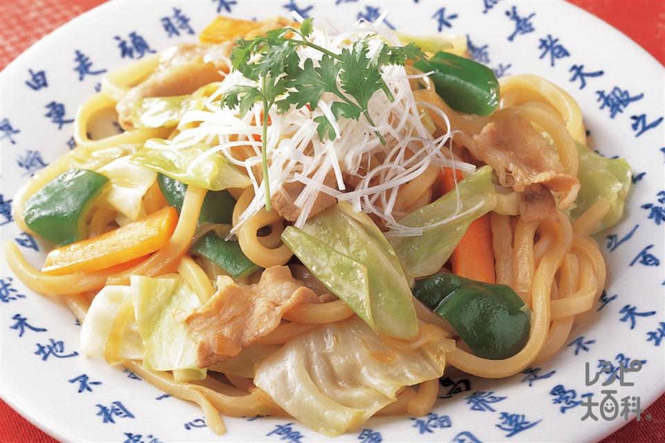 中国風焼きうどん(ゆでうどん+キャベツを使ったレシピ)
