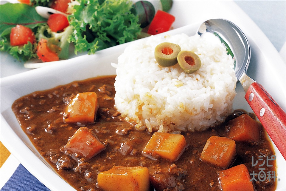 ひき肉カレー(合いびき肉+玉ねぎのみじん切りを使ったレシピ)