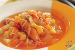 野菜たっぷりスープパスタ
