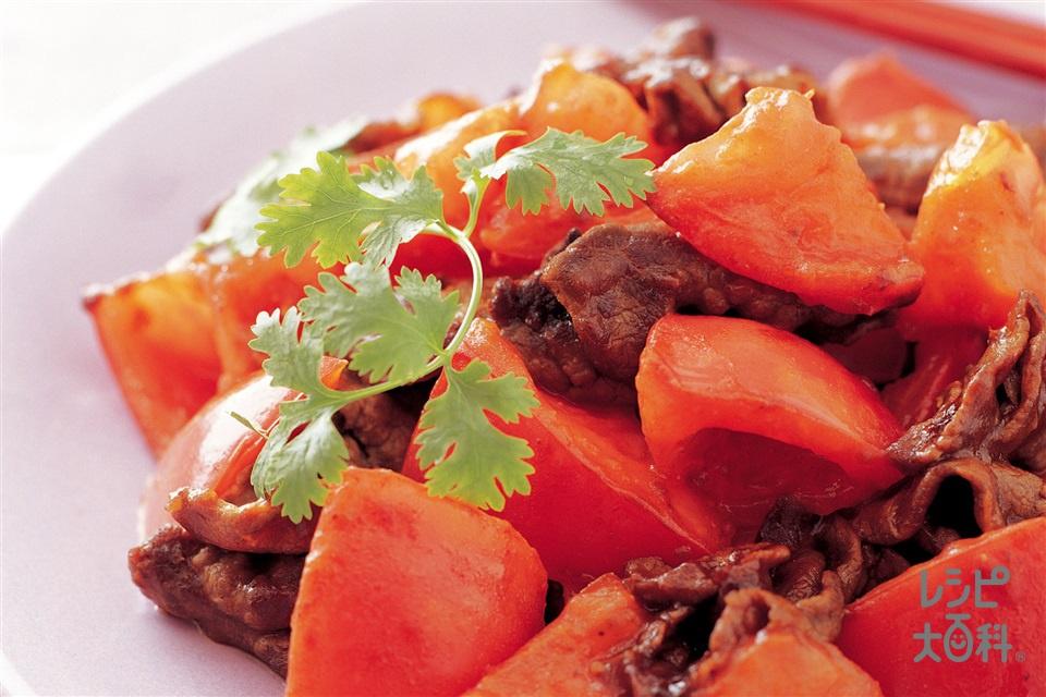 トマトと牛肉の甜麺醤炒め(トマト+牛もも赤身薄切り肉を使ったレシピ)