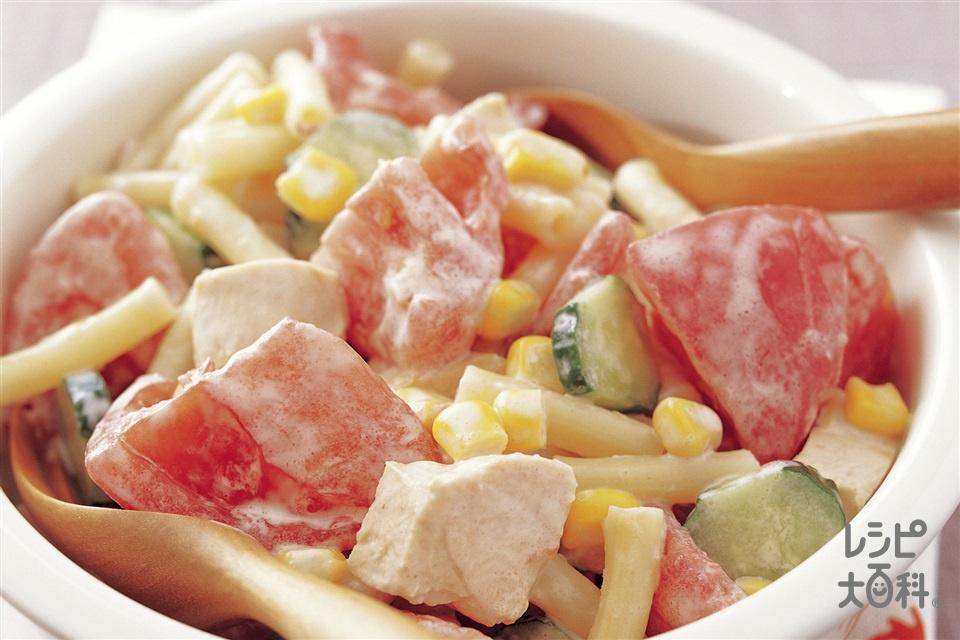 トマトとチキンのマカロニサラダ(トマト+鶏むね肉を使ったレシピ)