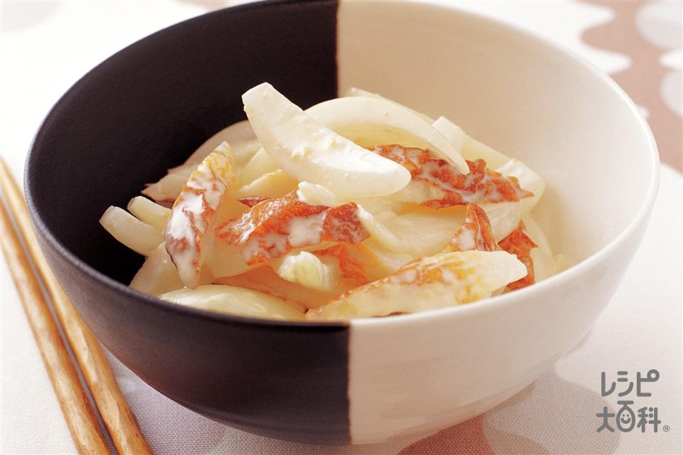 玉ねぎとちくわのみそマヨあえ(玉ねぎ+A「瀬戸のほんじお」を使ったレシピ)