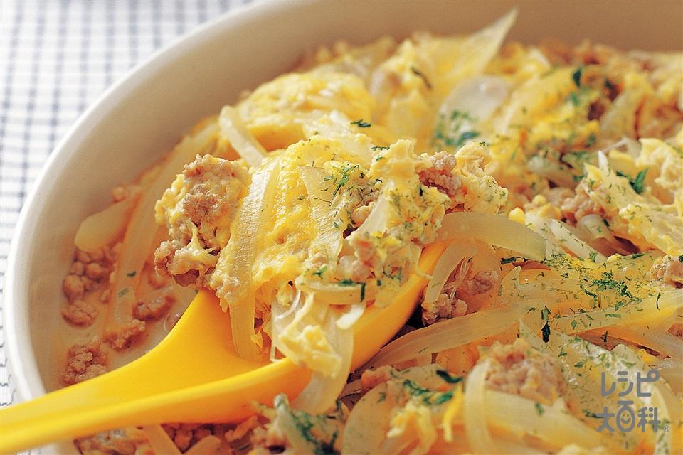玉ねぎとひき肉の卵とじ(玉ねぎ+豚ひき肉を使ったレシピ)