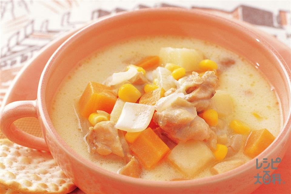 鶏肉と野菜のチャウダー(鶏もも肉+牛乳を使ったレシピ)