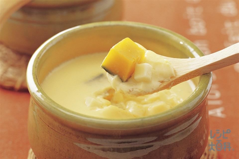 かぼちゃのチーズ茶碗蒸し(かぼちゃ+プロセスチーズを使ったレシピ)