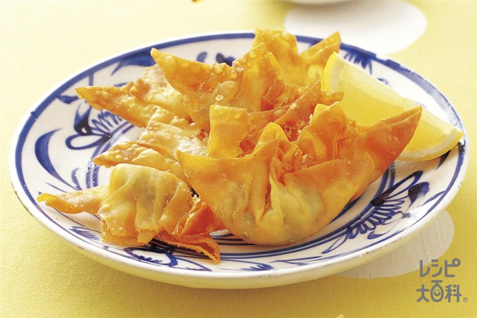 ツナとチーズの揚げワンタン(ツナ水煮缶+ワンタンの皮を使ったレシピ)