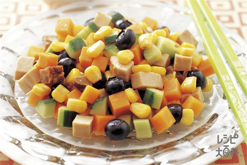 焼き豚と角切り野菜の中国風サラダ(焼き豚+にんじんを使ったレシピ)