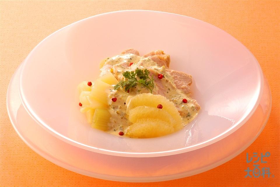 鶏肉とねぎのサラダ(鶏むね肉+グレープフルーツを使ったレシピ)
