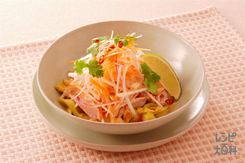 なすと豚肉のタイ風サラダ(なす+豚ロース薄切り肉を使ったレシピ)