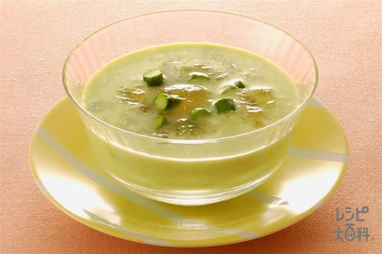 グリーンアスパラとそら豆の冷たいスープ
