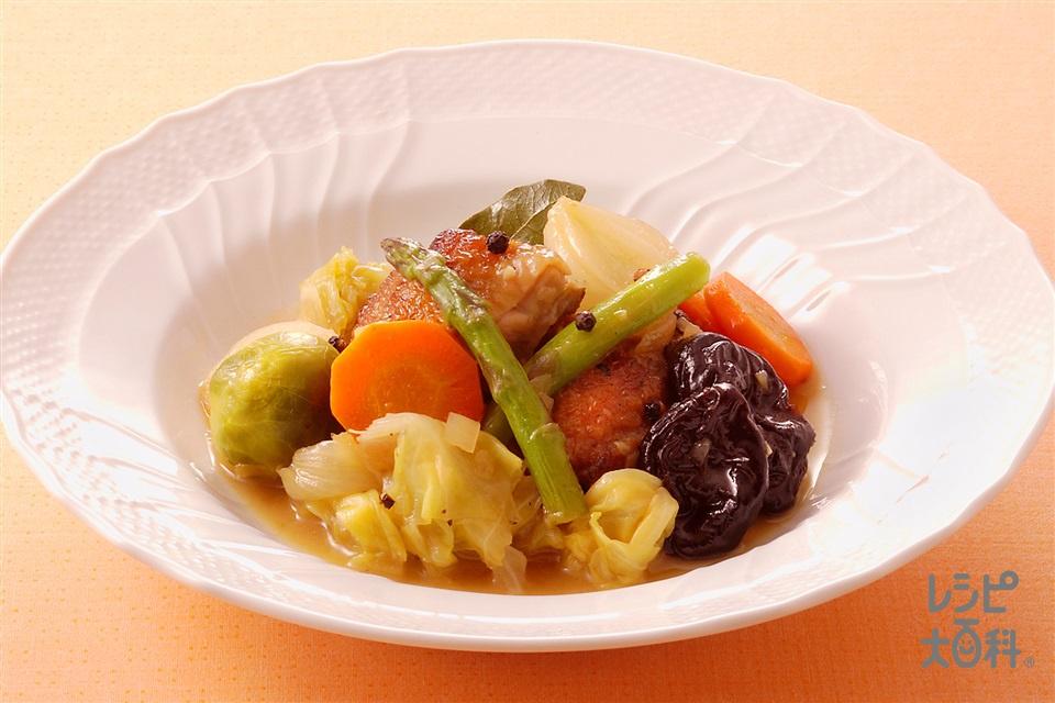 鶏肉とプルーンのすっぱ煮(鶏もも肉+キャベツを使ったレシピ)