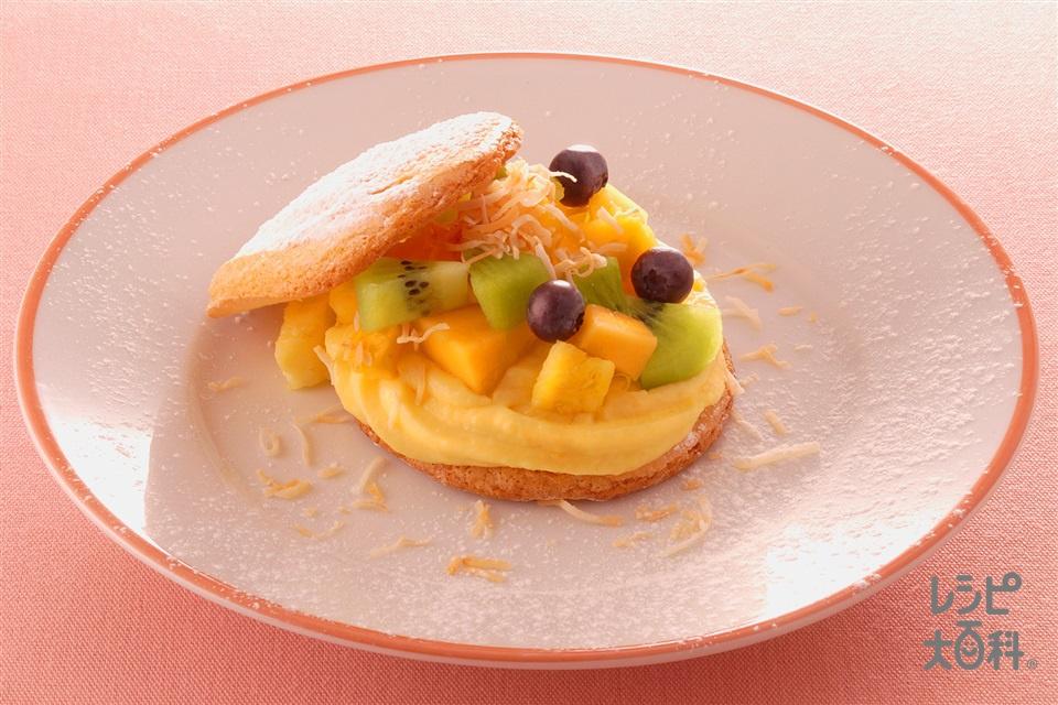 ビスキュイのフルーツ入りケーキ(卵+グラニュー糖を使ったレシピ)