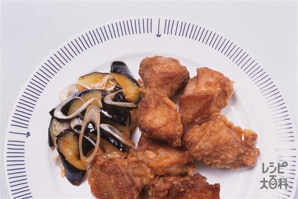 鶏のから揚げ なすのピリ辛マリネ(鶏もも肉+Aおろしにんにくを使ったレシピ)