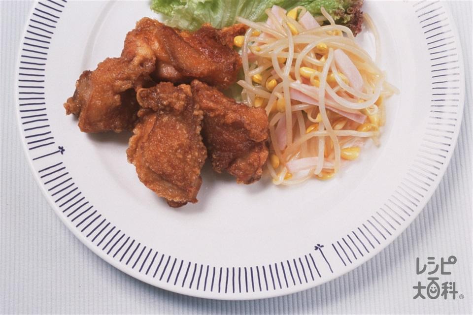 鶏のから揚げ 豆もやしとハムのナムル(鶏もも肉+大豆もやしを使ったレシピ)
