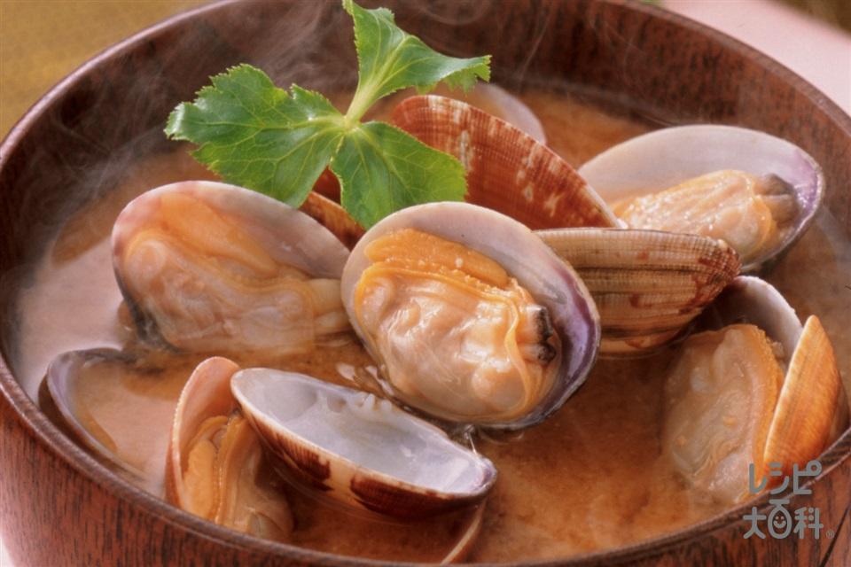あさりのみそ汁(あさり(殻つき)+みつばを使ったレシピ)
