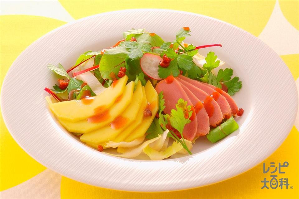 スモークチキンとマンゴーのサラダ(スモークチキン+レタスを使ったレシピ)