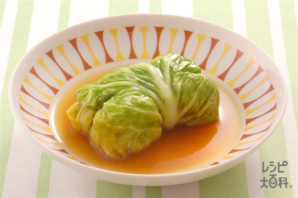 鶏ひき肉の和風ロールキャベツ(キャベツ+鶏ひき肉を使ったレシピ)