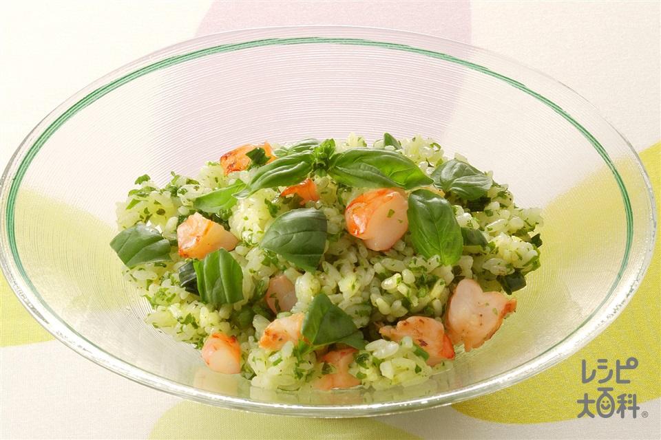 グリーンのライスサラダ(ご飯+むきえび(大)を使ったレシピ)