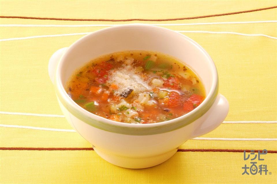 夏野菜のミネストローネ(じゃがいも+トマトを使ったレシピ)