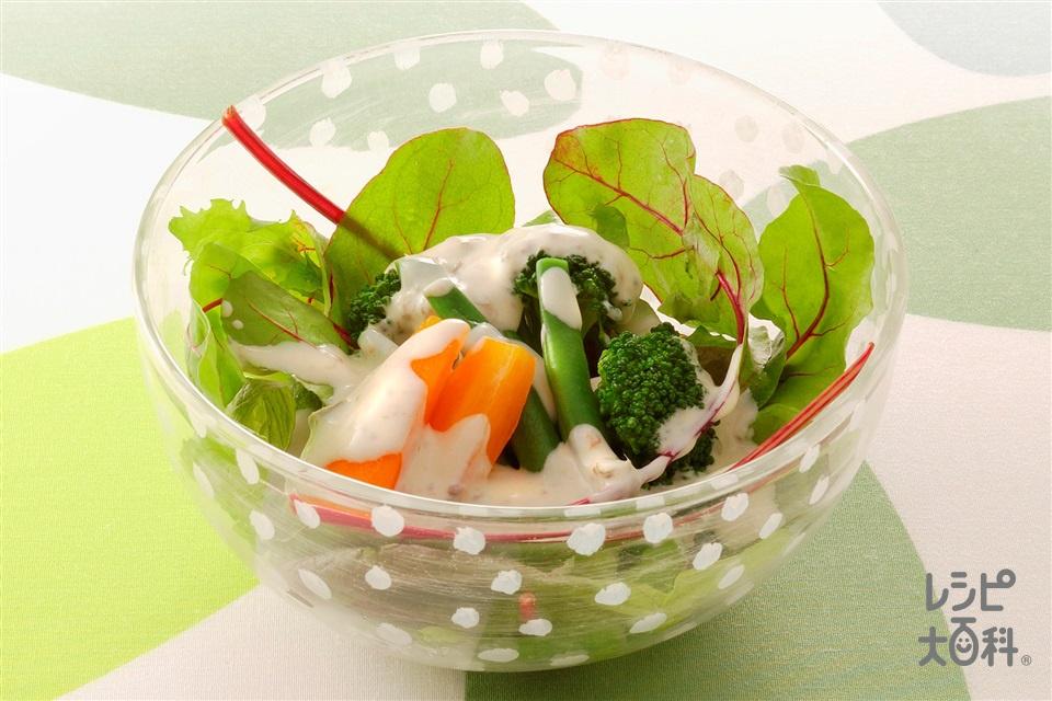 野菜とガーリックアンチョビドレッシング(ブロッコリー+さやいんげんを使ったレシピ)