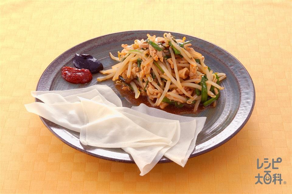 野菜炒めのクレープ包み(もやし+豚ロース薄切り肉を使ったレシピ)