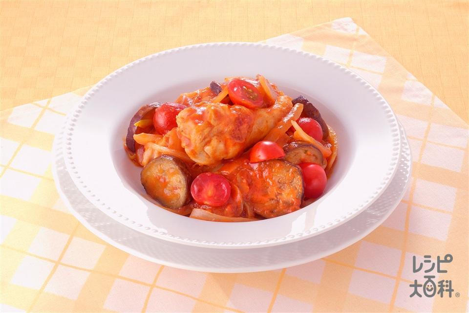 鶏手羽元となすのトマトソース煮込み(鶏手羽元+なすを使ったレシピ)