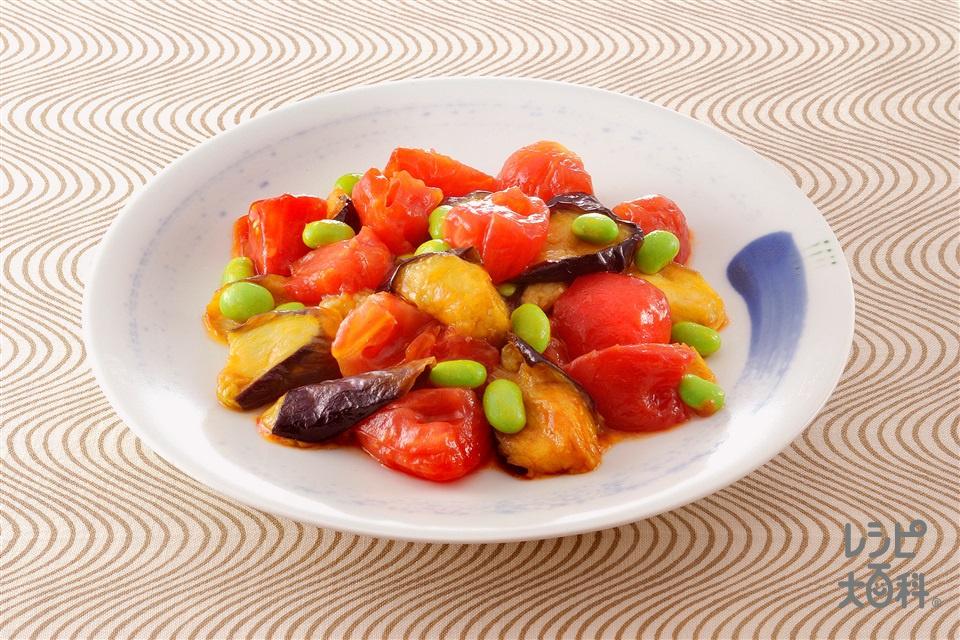 トマトと揚げなすのシンプル炒め(トマト+なすを使ったレシピ)