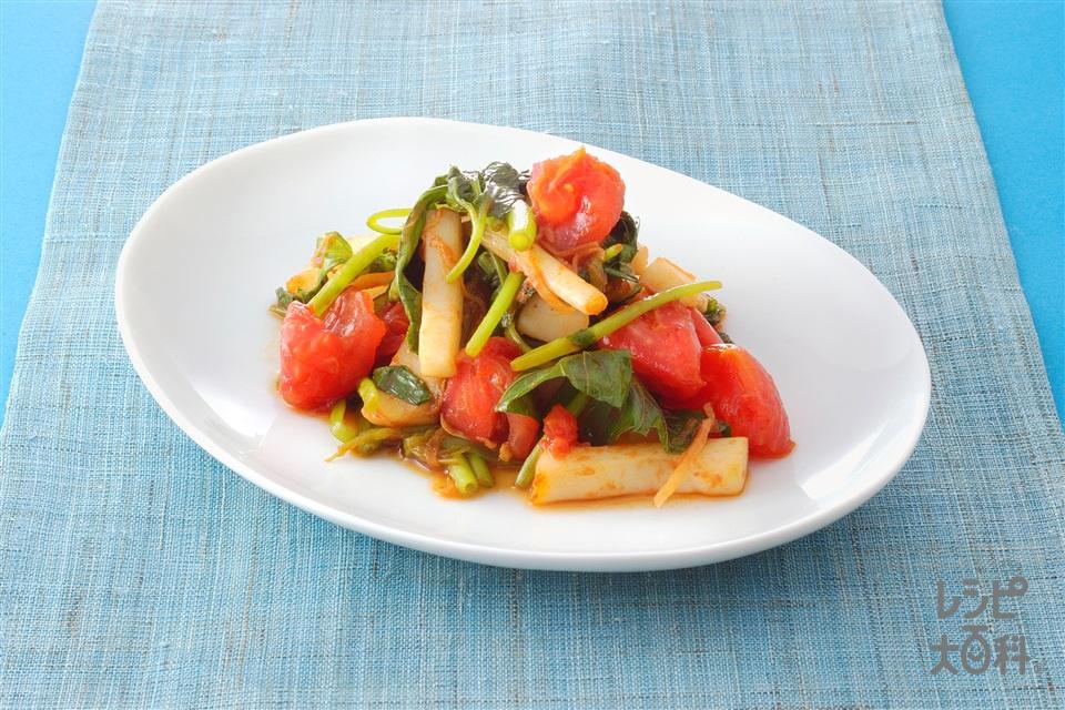 トマトといかと根みつ葉の炒めもの(トマト+いかを使ったレシピ)