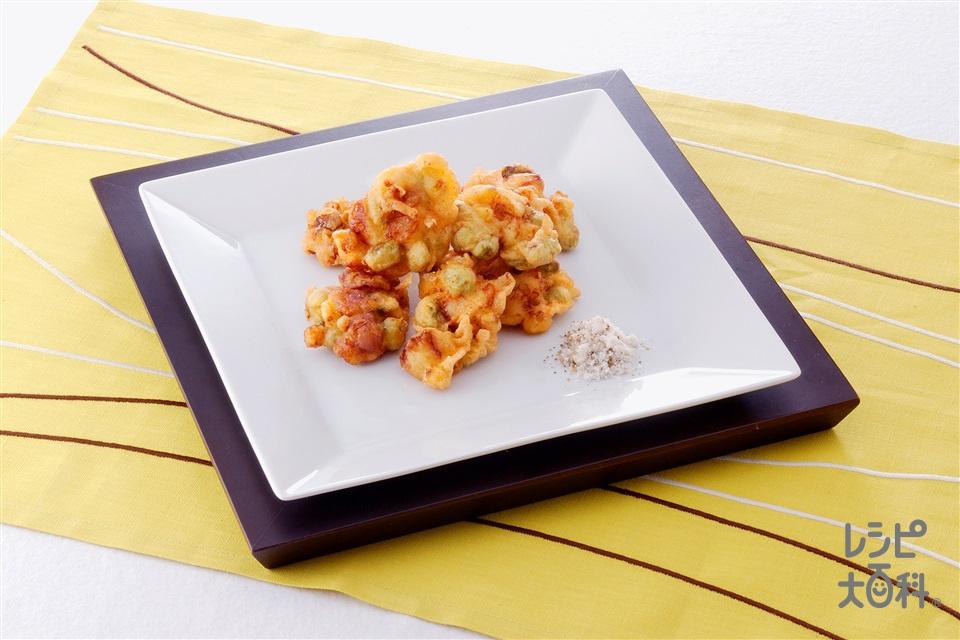 帆立貝柱、枝豆、コーンのかき揚げ(帆立貝柱+塩ゆで枝豆(さやから出したもの)を使ったレシピ)