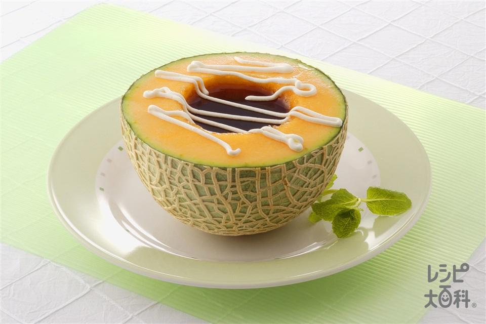 そのまんまメロンゼリー(メロン+紅茶(ティーバッグ)を使ったレシピ)