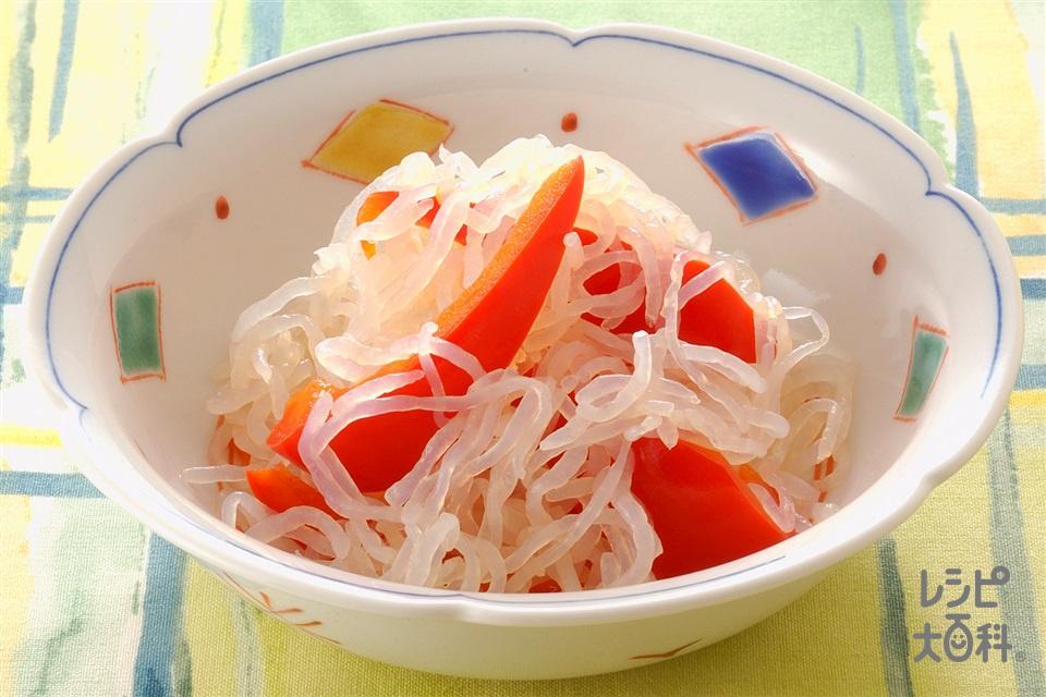 赤ピーマンとしらたきの甘酢煮(パプリカ(赤)+しらたきを使ったレシピ)