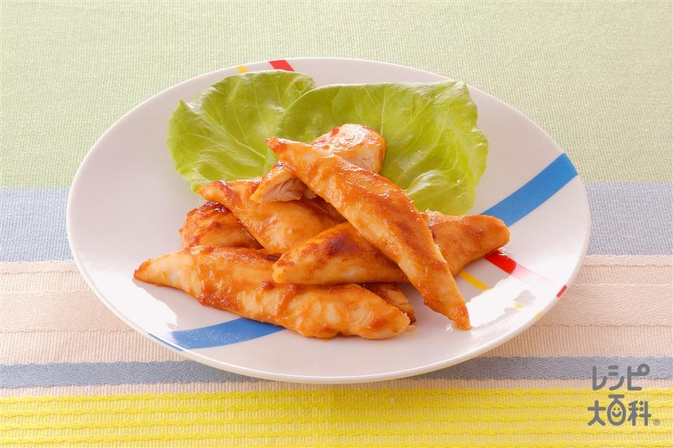 ささ身のピーナッツ照り焼き(鶏ささ身+サラダ菜を使ったレシピ)