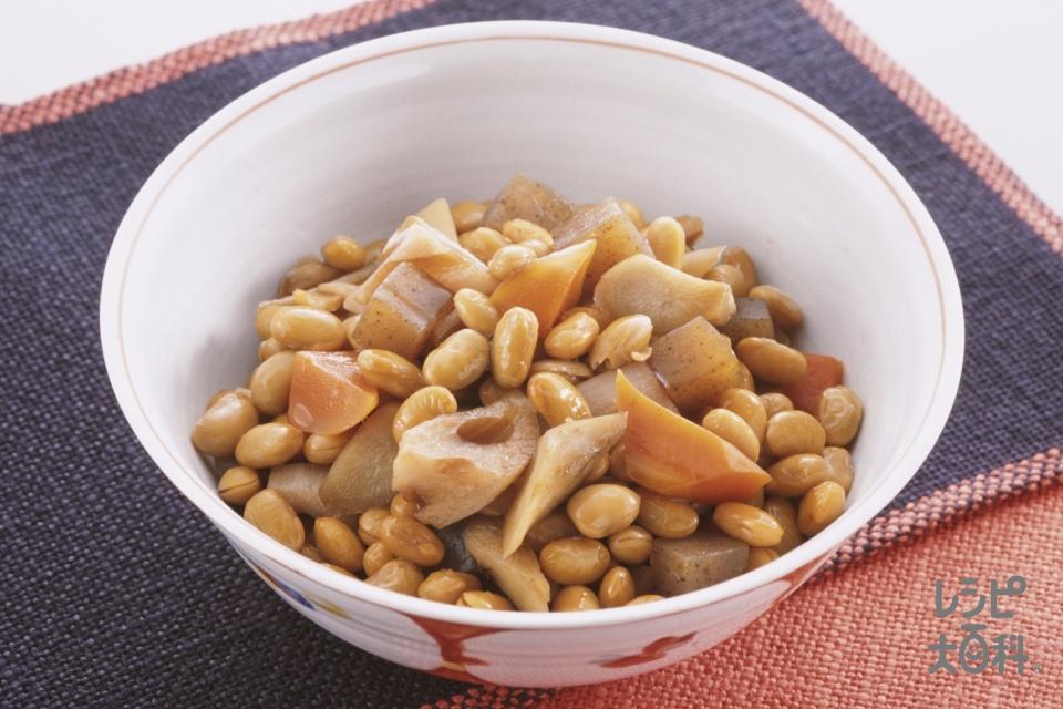 ごろごろ根菜の五目豆(大豆の水煮缶+こんにゃくを使ったレシピ)