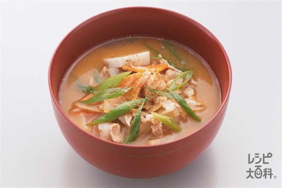豚汁(豚バラ薄切り肉+大根を使ったレシピ)