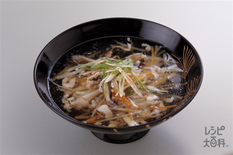 沢煮椀(豚バラ薄切り肉+ごぼうを使ったレシピ)