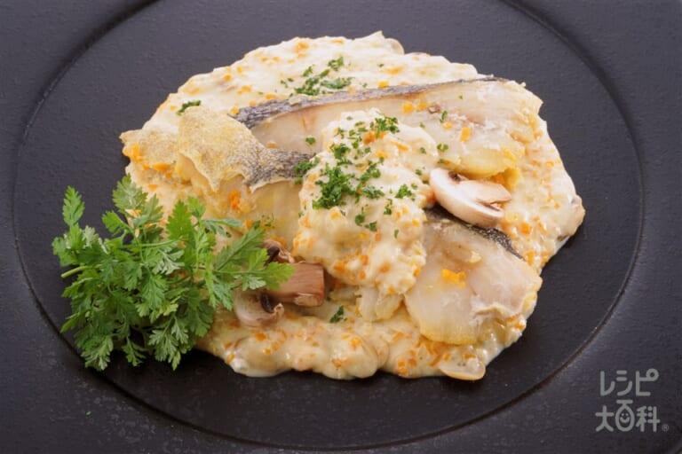 白身魚の蒸し煮 クリームソースがけ