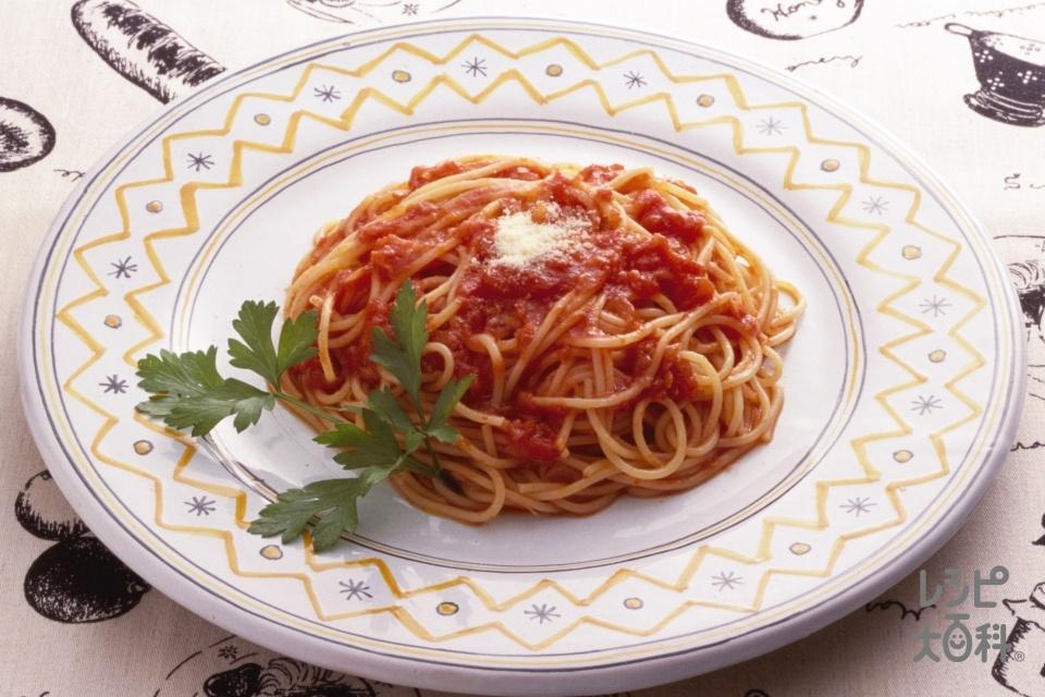 トマトソーススパゲッティ(スパゲッティ+玉ねぎを使ったレシピ)