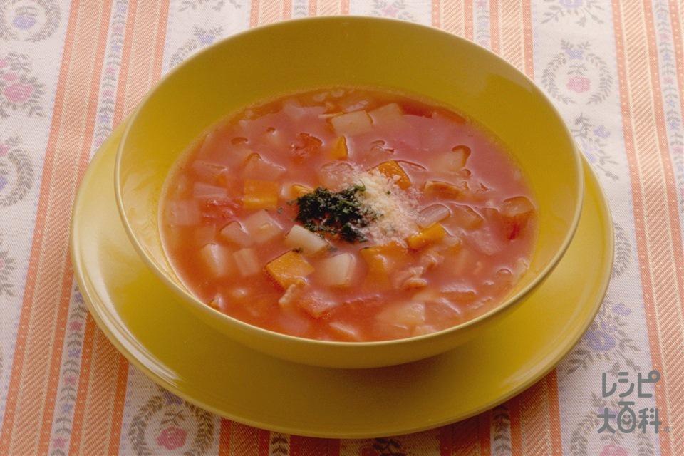 ミネストローネ(じゃがいも+トマトを使ったレシピ)